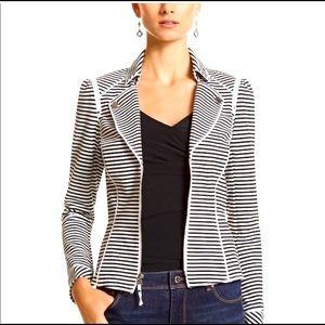 WHBM striped stretch moto zip up casual blazer